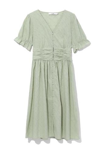 b+ab green Ruched waist dress 1F943AA4211F31GS_1