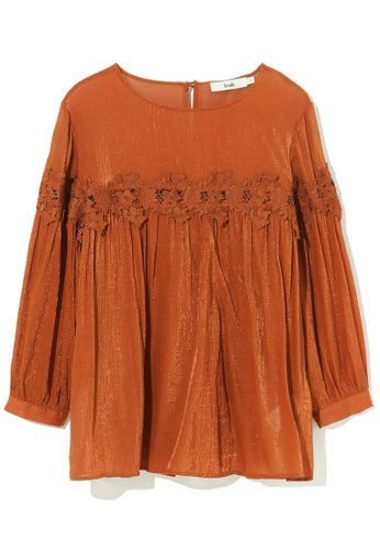 b+ab brown Lace panelled top 8754CAAB60B49DGS_1