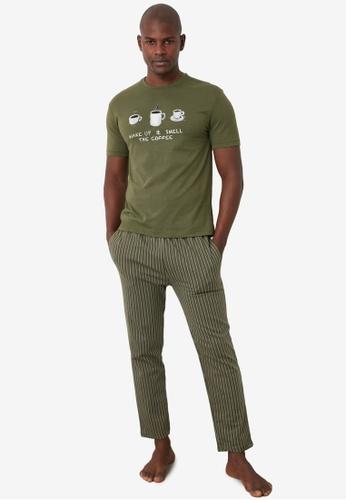 Trendyol 綠色 Printed Knit Pajama Set C1045AAE69B008GS_1