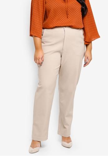 Ex'otico green Plus Size Basic Trouser 508FBAA69ED6F3GS_1