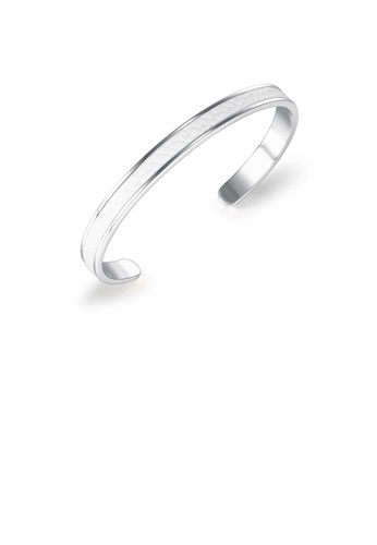 Glamorousky 銀色 簡約經典C型白色皮革316L鋼手鐲 2D903AC32F17E8GS_1