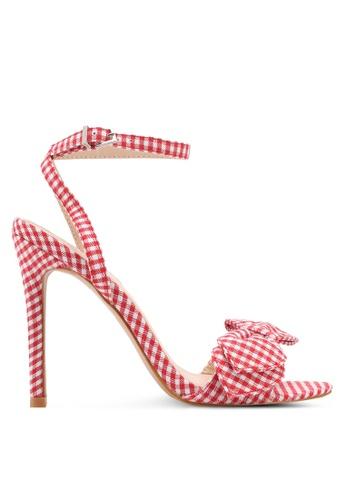 Something Borrowed red Gingham Ribbon Heels C95A6SHD14E802GS_1