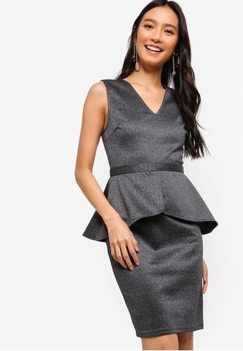 ZALORA 灰色 Peplum Dress 27EE6AACB03644GS_1