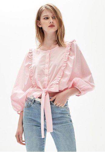 iROO pink Front Tie Knot Blouse F456FAAC19B883GS_1