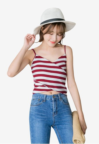 Tokichoi red and multi Striped Wrap Tank Top 9838BAAA606C91GS_1