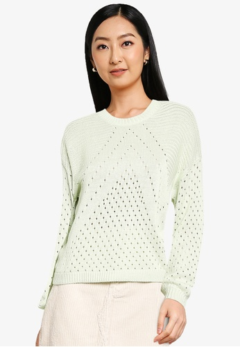 ONLY green Kendra Long Sleeve Knit Pullover F9048AA77BB32DGS_1