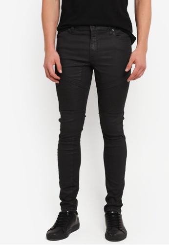 Topman black Leather Look Biker Spray On Jeans TO413AA0SJKPMY_1