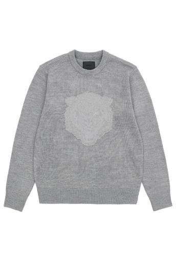 MUSIUM DIV grey Logo-stitched sweater 94CF9AAF306F9BGS_1
