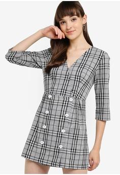 962b9f78883b4 Something Borrowed black V-neck Dress with Buttons DC0DDAA2F8C2C0GS_1