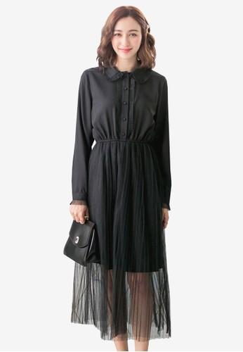Yoco black Frill Collar Maxi Dress AE98DAAF241047GS_1