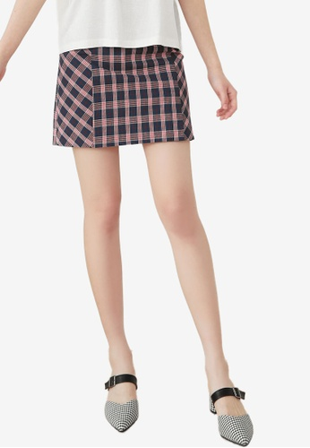 NAIN navy Check Mini Skirt A44E8AA20BB4B9GS_1