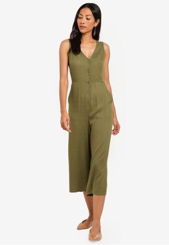ZALORA BASICS green Basic Button Front Culotte Jumpsuit CE57FAA7454D48GS_1