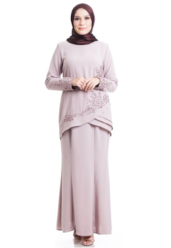 Ashura grey and brown Ikeyn Kurung With Layered Asymmetrical Frills 4A5F5AA064BE25GS_1