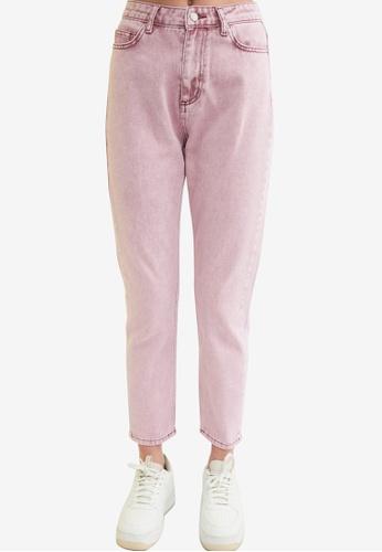 Trendyol 粉紅色 High 腰圍 Mom 牛仔褲 F1E4CAACDC467BGS_1