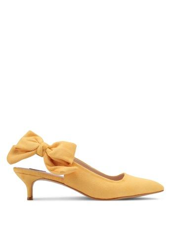 Velvet yellow Suede Back Tie Kitten Heel 77EFBSH9A43712GS_1
