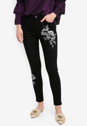 Dorothy Perkins black Black Metallic Darcy Embroided Jeans DO816AA0SKTNMY_1