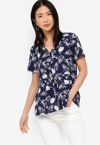 ZALORA BASICS multi and navy Basic Button Peplum Top A6C41AA6C35F14GS_1
