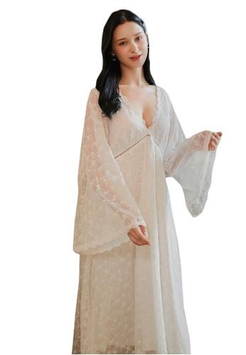 LYCKA white LML1300-Lady One Piece Long Sleeve Lace Sleepwear-White 449B9AAD0A7C51GS_1