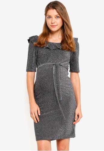 Mama.licious silver Maternity Glitter Dress DD0CBAAF3F7D1DGS_1