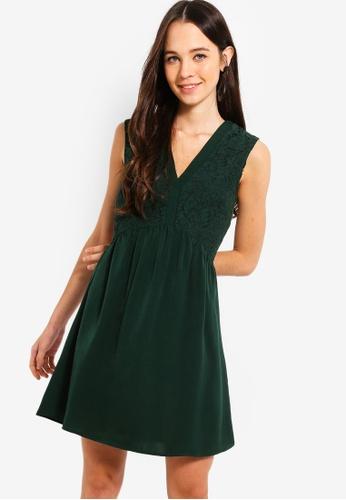Something Borrowed green V-Neck Lace Panel Dress 7C4C8AA34CB902GS_1