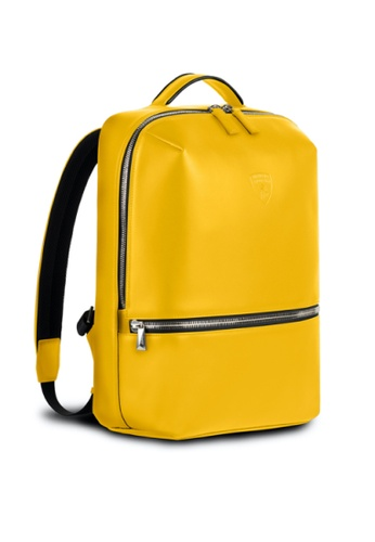 Lamborghini yellow Automobili Lamborghini® Pure Yellow Backpack Calf Leather Backpack Made in Italy ACAF7ACC671E3EGS_1