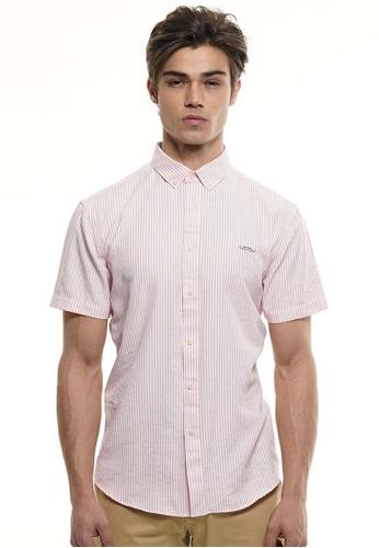 Private Stitch red Private Stitch Men Casual Short Sleeve Slim Fit Cotton Stripe Shirt 0AD77AA5C0E421GS_1