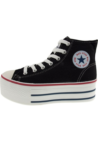 Maxstar Maxstar Women's C50 7 Holes Zipper Platform Canvas High Top Sneakers US Women Size MA168SH15BAUHK_1