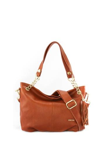 SEMBONIA brown SEMBONIA Genuine Leather Hobo Bag SE598AC09JUSMY_1