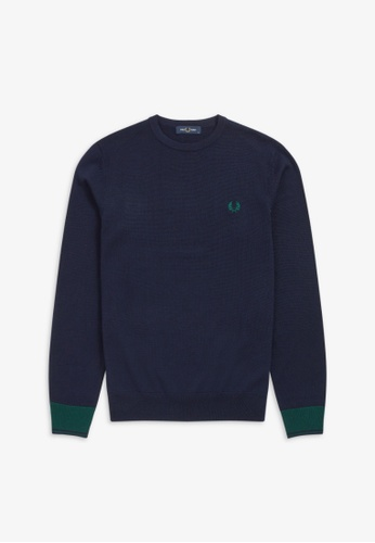 Fred Perry navy K9539 - Contrast Cuff Crew Neck Jumper - (Navy) A658BAAB08D40CGS_1