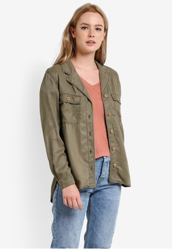 Mango green Chest-Pocket Soft Shirt MA193AA65BSSMY_1