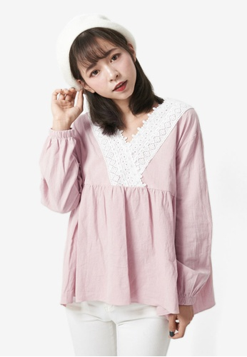 Tokichoi pink V-Neck Lace Top 21E0EAAEB88EA6GS_1