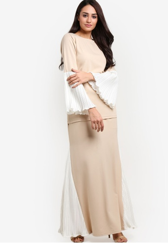 Titthonia Pleated Pastel Kurung Moden from RekaReka in Beige