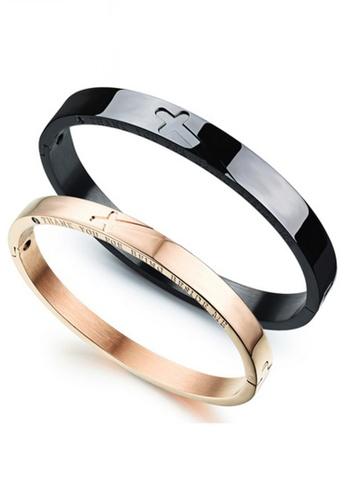 Trendyshop black and gold Engraved Couple Bangle Set TR116AC2V58NHK_1