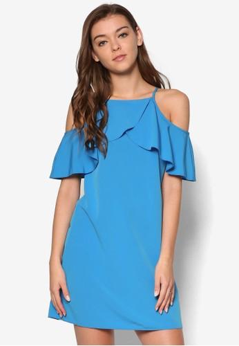 荷葉飾挖肩短袖連身裙, 服esprit手錶專櫃飾, 洋裝