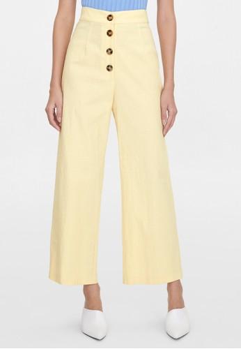 Pomelo multi Front Button Wide Leg Pants - Beige C2B16AA49B3070GS_1