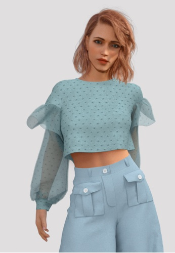 Lily & Lou green Ginny Blouse (Mint) ECEC0AAE9ABA23GS_1