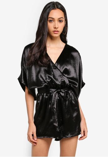 Supre black Pearl Wrap Front Playsuit 14BAFAAB23FF8AGS_1