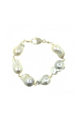 Shinju Pearls white SHINJU PEARLS-Fresh Water Pearl Baroque Lock Cubic Zirconia Bracelet 6259DAC824950DGS_1