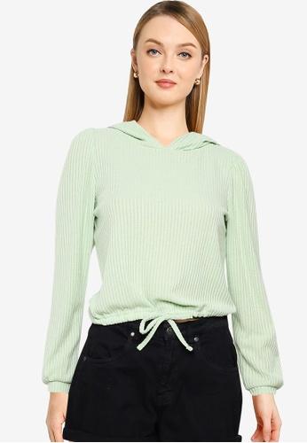 ONLY green Tie Detail Hoodie 96B25AAD27ED6DGS_1