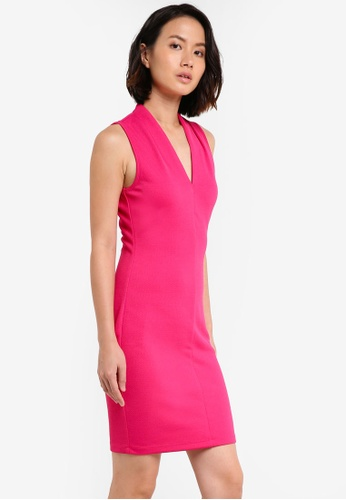 ZALORA pink Essential V Neck Bodycon Dress 91974AAA61BF87GS_1