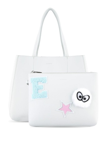 VINCCI grey Tote Bag With Mini Clutch VI831AC0S53PMY_1