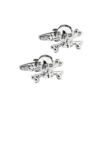 Glamorousky silver Fashion Personality Skull Cufflinks 5E334ACA6ABB2DGS_1