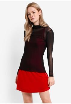 Image of 2 In 1 Velvet Dress With Mesh Top