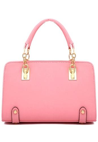 Jackbox pink Fashion Cross Pattern PU Leather Shoulder Sling Bag Tote Bag 323 (Pink) JA762AC24DBFMY_1