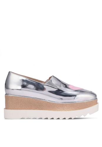 Public Desire silver Mania Heart Stacked Flatform Shoes PU378SH0RYRLMY_1