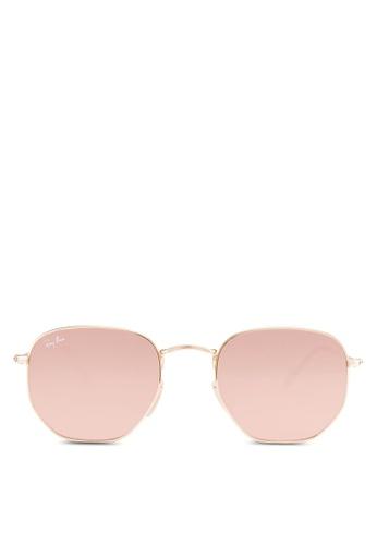 Ray-Ban gold Hexagonal Flat Lenses RB3548N Sunglasses RA896GL25EZEMY_1