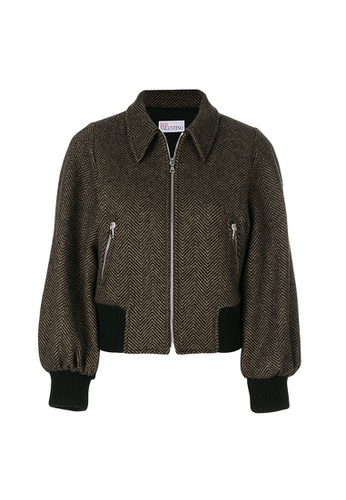 Red Valentino brown Red Valentino Front Zip And Ribbed Hem Cuffs Embroidered Knit Jacket in Brown,Black 4647CAAB23316BGS_1