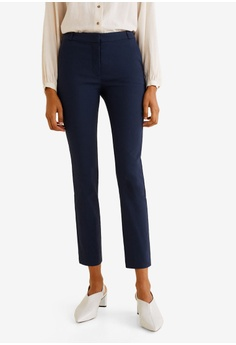 5acebdb3d0d MANGO blue and navy Crop Slim-Fit Trousers 214A0AA74FDECBGS 1