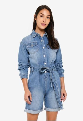 ZALORA 藍色 口袋 Detailed 丹寧 連身短褲 BD826AAED044A0GS_1
