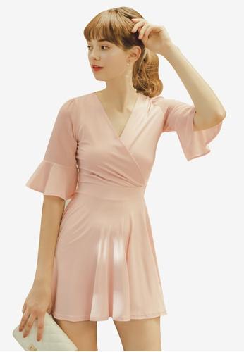 Eyescream pink Ruffle Sleeve Wrap Dress 55A51AA0D91C21GS_1